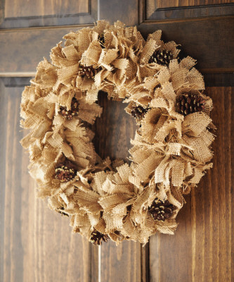 Burlap and pinecone wreath