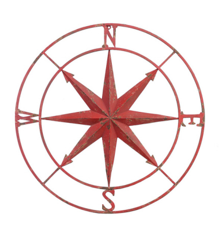 Metal Compass Wall Plaque