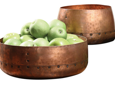 Round Hammered Aluminum Bowls