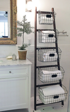 Wood Ladder w Metal Baskets