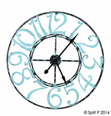 spa blue metal clock
