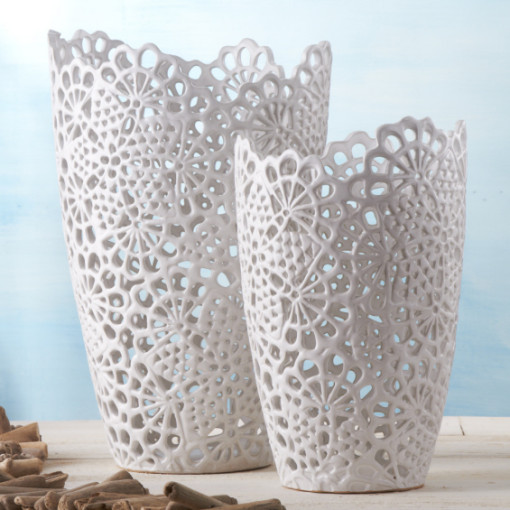 white lace vases