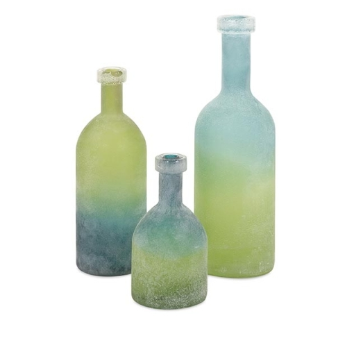 Alena Green and Blue Glass Bottles Set