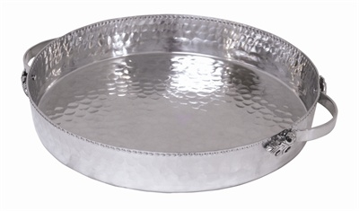 Hammered Deep Round Tray