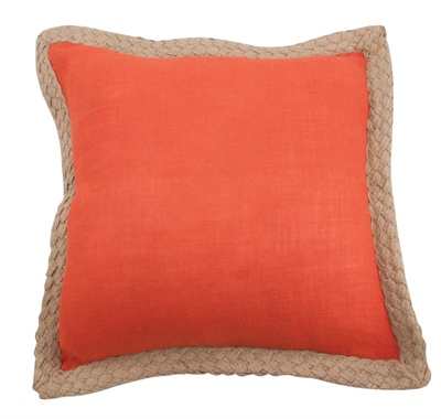 Jute Braid Orange Pillow