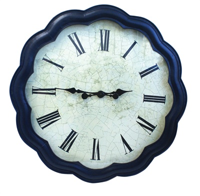 navy Scalloped Metal Glass Clock