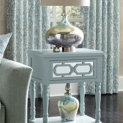 Seafoam Glass Mirror Table
