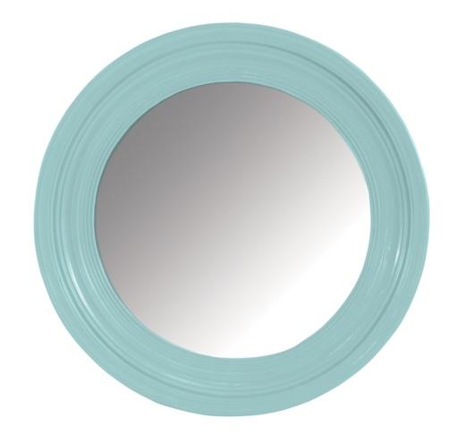 Teal Round Mirror