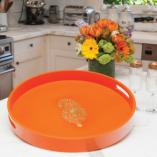 Orange Buta Round Tray